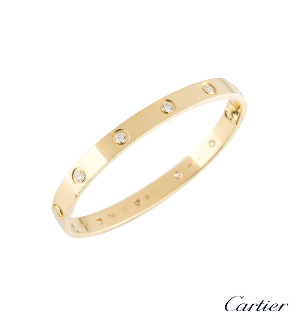 Cartier Yellow Gold Full Diamond Love Bracelet Size 17 B6040517